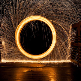 Sparks on a bridge by Paul Stonehouse - Abstract Light Painting ( light painting, light trails, fire )