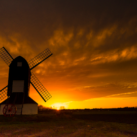 Burning Sky  by Babar Swaleheen - Landscapes Prairies, Meadows & Fields ( field, uk, london, sunset, green, cloud, windmill, fire )