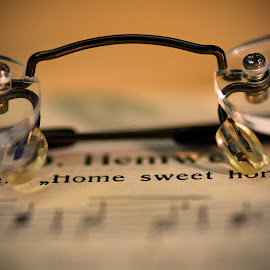 Home Sweet Home by Marco Bertamé - Artistic Objects Still Life ( music, song, text, words, glasses, screw, book )
