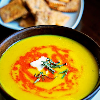 Butternut Squash Soup with Roasted Red Pepper Drizzle and Sage