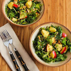 Recipe for Raw Baby Kale Salad with Apples, Sunflower Seeds, and Lemon-Dijon Vinaigrette