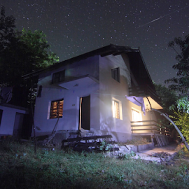 Shooting Star House by Joe Kirby - Landscapes Travel ( starry sky, bulgarian house, stars, shooting star, night )