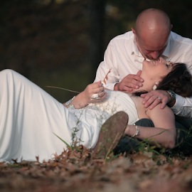 Couple Kissing  by Lodewyk W Goosen-Photography - Wedding Bride & Groom ( love, kiss, married, wedding, hitch, couple, bride and groom, marriage )