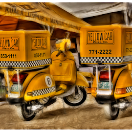 Yellow Cab Pizza by Zab Coloma - Transportation Motorcycles ( hdr, vespa, pizza, yellow, delivery )