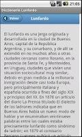 Screenshot of Diccionario Lunfardo