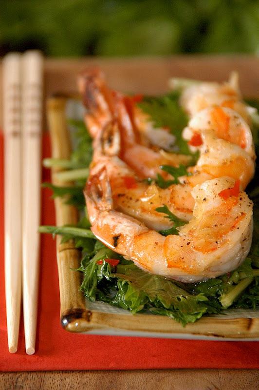 shrimp salad mizuna mustard