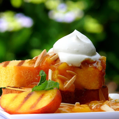 Grilled Pound Cake with Warm Peach Coulis and Chantilly Cream