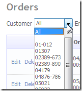 Customer Filter on Orders table