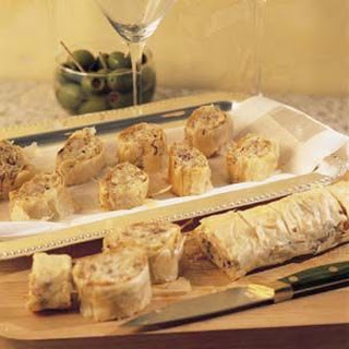 Gorgonzola, Apple and Toasted Pecan Filo Rolls