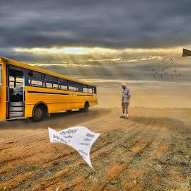 Old School by Brett Warner - Digital Art Places ( bus, school, desert, dust, outback, landscape, surreal, man, photoshop )