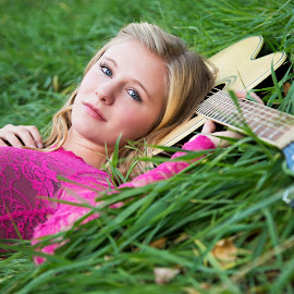 A Girl & Her Guitar  by Kylie Nielson Howes - People Portraits of Women ( girl, gorgeous, beautiful, guitar, guitar strings, green grass )