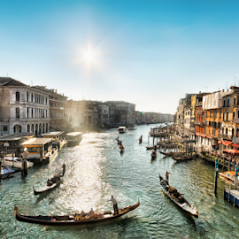 Venice - Grand Canal by Nermin Smajić - Landscapes Travel ( water, old, gondola, grand, venice, tourism, travel, boat, italy, canal, sun )