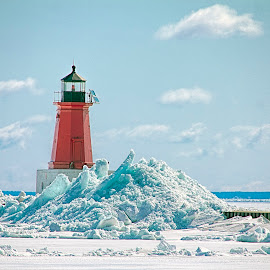 Blue Ice Shoves by John Kehoe - Landscapes Weather ( michigan, green bay, bay, ice, lighthouse, shove, menominee )