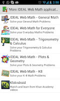 Screenshot of IDEAL Web Math Algebra