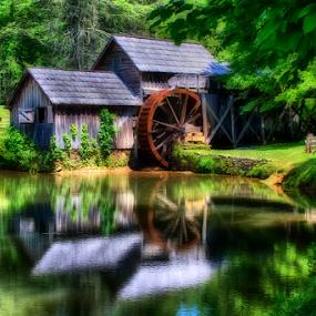 0079-Mill by Reflection by Fred Herring - Buildings & Architecture Other Exteriors ( mill, waterwheel, lake, maybry,  )