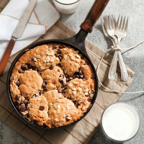 Chocolate Chip Oatmeal-Peanut Butter Skillet Cookie