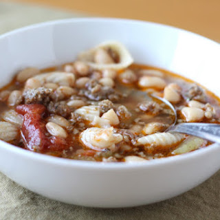 Pasta Soup with White Beans and Sausage
