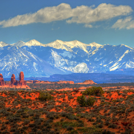 La sal. by Dipali S - Landscapes Mountains & Hills ( hills, snow capped, la sal mountains, desert, arches national park, utah, arid, vegetation )