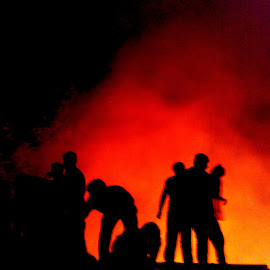 Firefighters and Disaster by Norbu Jinpa - News & Events Disasters ( red, yellow, darkness, people, smoke, fire )