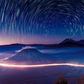Bromo star trail by Krissanapong Wongsawarng - Landscapes Starscapes ( startrail, volcano, nature, travel, sunrise, landscape, bromo )