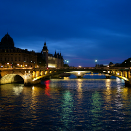 Bridge in Paris by Phoebe Sabrina - Buildings & Architecture Bridges & Suspended Structures ( paris, night, bridge )