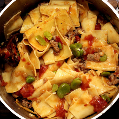 Fresh Pasta with Favas, Tomatoes and Sausage