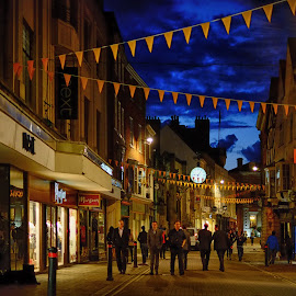 Night on the Town by Phil Robson - City,  Street & Park  Street Scenes ( night out, england, blue hour, town centre, york )