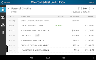 Screenshot of Chevron FCU Mobile Banking