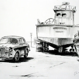Old Car and Fishing Boat by Oliver Cook - Drawing All Drawing ( pen, car, charcoal, old, harbor, gozo, malta, mediterranean, boat, fishing boat, classic, ink )