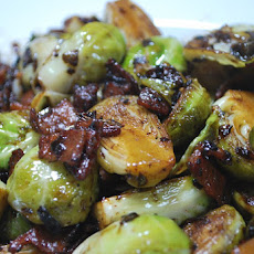 Pan Roasted Brussel Sprouts with Bacon & Shallot