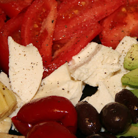 Summer Lunch by Waynette  Townsend - Food & Drink Plated Food ( peppers, bounty, artichoke hearts, summer, cheese, plated food, mozzarella, lunch, tomatoes, olives,  )