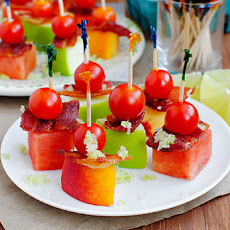 Mini Fruit & Bacon Kabobs with Sugared Lime Zest