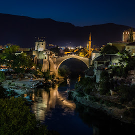 Mostar at night by Wim Moons - City,  Street & Park  Historic Districts