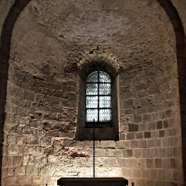 Mont Saint Michel Interior 22 by Anita Berghoef - Buildings & Architecture Public & Historical ( interior, altar, ancient, church, monastery, place of worship, france, architecture, wall, cross, mont saint michel )