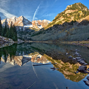 Maroon Bells Sunrise by Roxie Crouch - Landscapes Waterscapes ( water, pines, aspen mountains, clouds, reflection, waterscape, colorado, lake, yellow, aspen, sky, blue, maroon bells, rocks,  )
