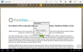 Screenshot of ThinkFree Mobile for Tablet