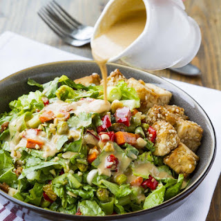 Thai Chopped Peanut Salad with Crispy Sesame Tofu