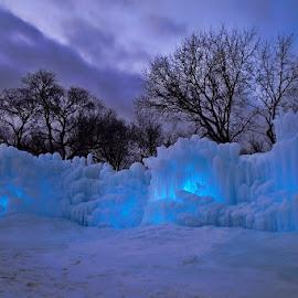 Ice Castles by Luanne Bullard Everden - Artistic Objects Other Objects ( lights, water, minnesota, winter, ice, trees, castle, dusk,  )