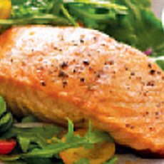 Pan Seared Salmon on Baby Arugula