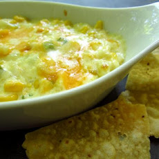 Hot Corn Dip With Crispy Tortilla Chips