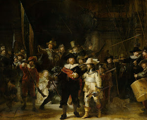 RIJKS: Rembrandt Harmensz. van Rijn: Militia Company of District II under the Command of Captain Frans Banninck Cocq, Known as de 'Night Watch' 1642