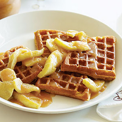 Buttermilk Pumpkin Waffles with Apples and Apple Cider Syrup