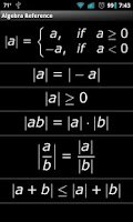 Screenshot of Algebra Reference