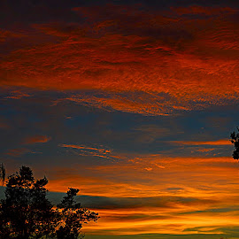 Complementary Colors at Dusk by Jeffrey Moellering - Landscapes Sunsets & Sunrises ( clouds, sunset, fiery sky, clearwater, dusk, blue, orange. color )