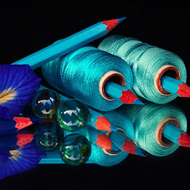 thread-pencil combo by Asif Bora - Artistic Objects Other Objects ( blue, pencil, object )
