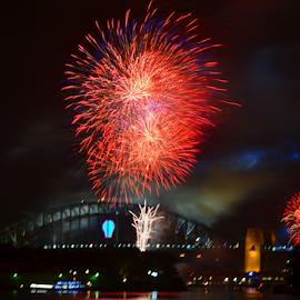High Fireworks by Kamila Romanowska - Abstract Fire & Fireworks ( new year, 2015, australia, fireworks, nye, celebration, sydney )