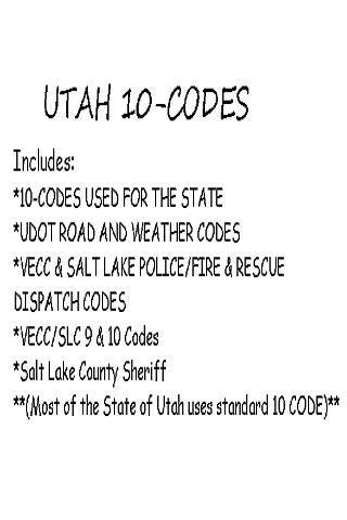 Utah 10-Codes