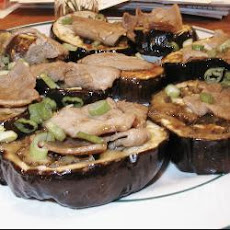 Grilled Aubergine with Teriyaki Pork