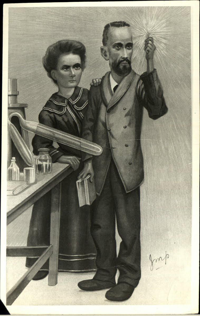 Press cartoon of the Curie couple after their Nobel Prize, circa 1903