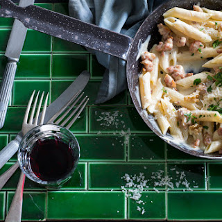 Penne with Tuscan sausage and walnuts